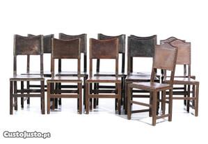 Conjunto 11 Cadeiras Carvalho Couro