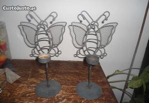 conj 2 casticais vintage , borboleta , em metal