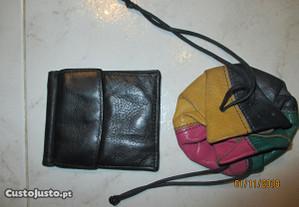 Mini carteira e porta moedas antigos de pele