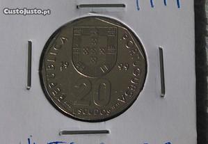 Moeda de 20 escudos (20$00), Cupro-Níquel, de 1999