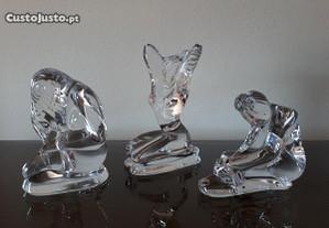 Conjunto de 3 estatuetas em cristal Atlantis