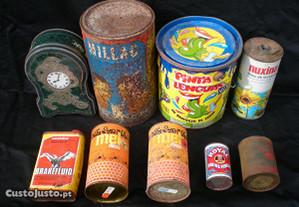 Lote latas antigas metal vintage decoração