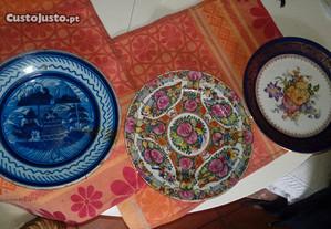 3 pratos cavaco gaia limoges e china antigo qualid