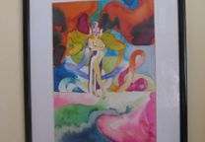 Antiga aguarela erótica nu feminino 1979