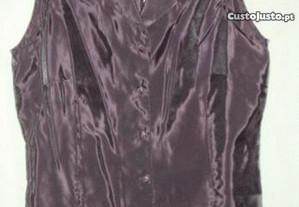 blusa rosa escuro de seda - nova!