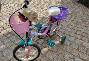 Bicicleta para criança com cesto e rodinhas