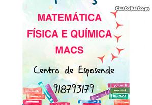 Explicações de Matemática, MACS e Física e Química