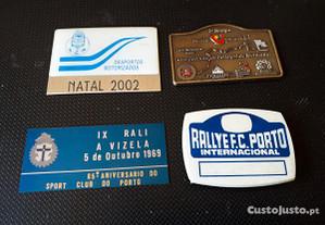4 Placas de ralis FC Porto e outros, automobilia