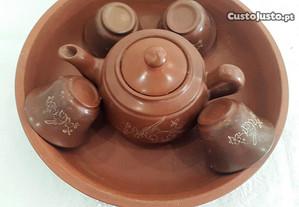 Caixa redonda +serviço Sake pedra sabão