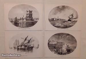 Conjunto de 4 Gravuras de J. Pedrozo, 1867