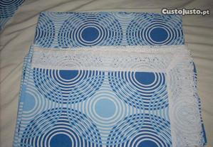 Lençóis em algodão estampado cor azul (3 peças)