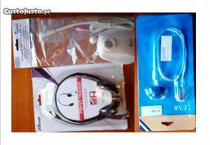 Conj. Auscultadores c/Micro+Micro de mesa+Lanterna