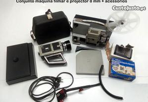 Máquina de Filmar 8mm + projector 8mm + acessórios