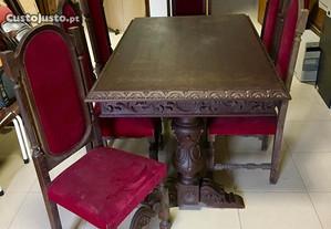 Mesa de jantar antiga 6 cadeiras