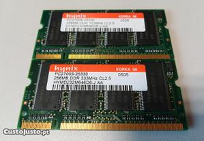 Memória Ram Laptop DDR 256-512MB