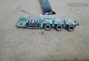 Placa Audio e Porta USB para Insys W76SUA - Usada