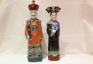 Raro Par Dignatários Esculturas Porcelana Chinesa