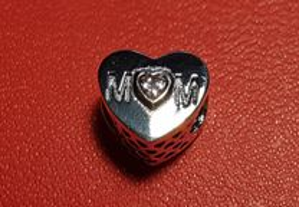 Jóia Conta de Prata Esterlina S925 Coração de Mãe