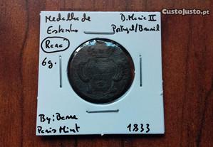 Medalha 1833 Portugal / Brasil de Estanho (Rara)