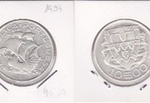 10$00 de 1934 em prata de Portugal
