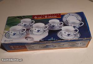 Retro Conj. Café 6pax Porcelana Real Alemã KPM