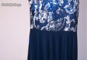 vestido azul escuro com lantejoulas novo