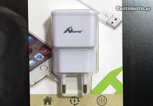 Carregador com 2 USB (2.1A/1.0) /Transformador USB
