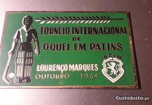 Placa sporting Lourenço Marques hoquei patins 1964