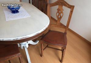 Mesa 6/8 pessoas + cadeiras forradas a couro