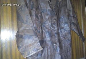 casaco de pele castanho mesclado xl