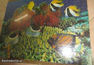 Quadro feito em puzzle - Aquário