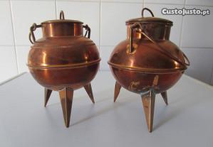 Panelinhas antigas em cobre