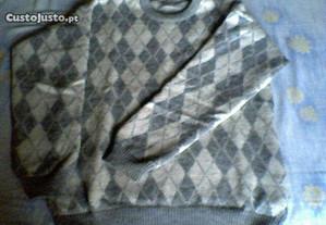 Camisola de Inverno Losangos - 100% lã (como nova)