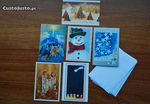 Cartões de Boas Festas (de face dupla) e Envelopes
