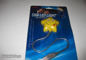 Lâmpada LED, com entrada USB para PC ou Portátil.