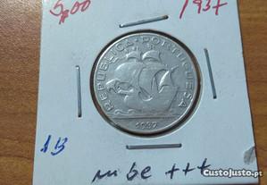 5$00 de prata do ano de 1937 mbc+