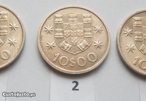 Moedas de 10$00 Escudos 1971, 72 e 73