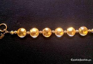 Bracelete Vidro Murano Dourado