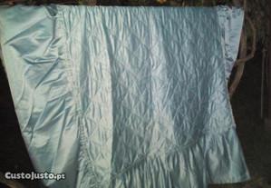 colcha de casal azul c/folhos acetinada