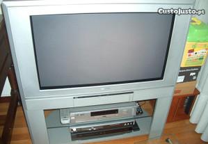 TV Toshiba com móvel cinza original