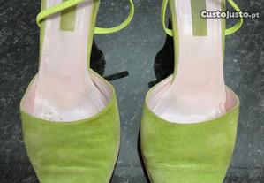 Sapatos de senhora em camurça verdes Bianca