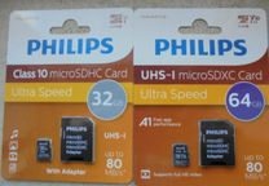 Cartoes Philips micro sd - 32 gb e 64gb