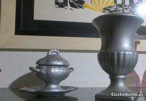 Jarra e Terrina com prato, prateado, cerâmica