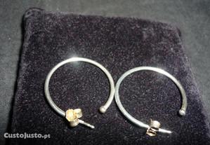 Brincos ou argolas prata 925, dão p/ peças pandora