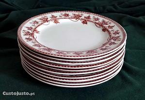 10 pratos em porcelana wedgwood & Cº ivy patern