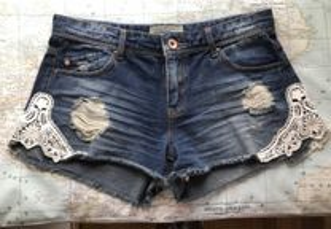 Shorts de ganga elástica