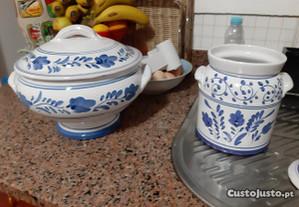 Terrina e pote cerâmica vieira lagoa