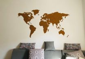 Mapa Mundo 3D - cortiça