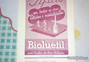 folheto publicitario antigo Bioluetil medicamentos