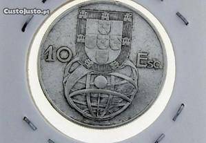 Moeda de Prata de 10 Escudos da Caravela - 1954